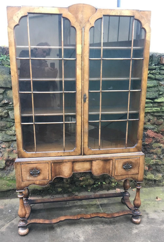 c19th walnut bookcase on base
