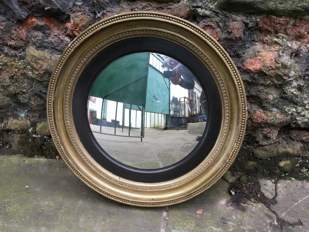 c19th gilt convex mirror
