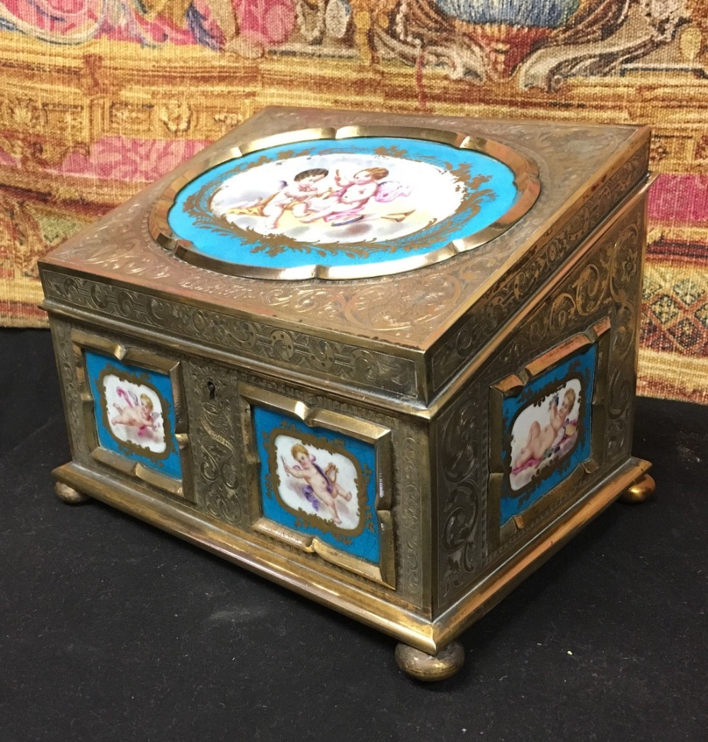 c19th gilt brass and beau celeste panelled stationary box