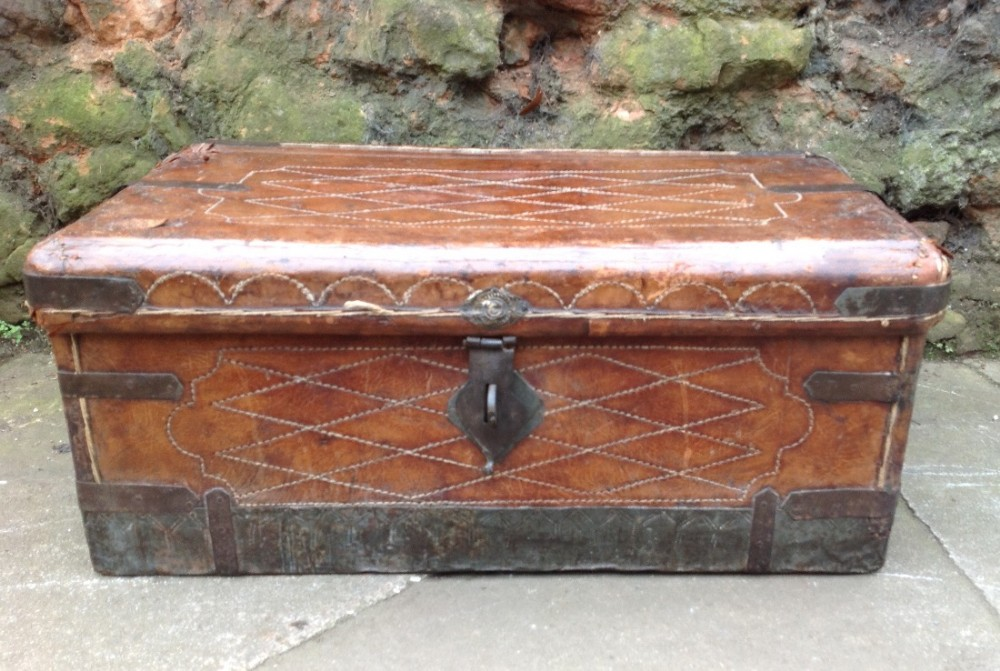 c18th leather covered spanish box