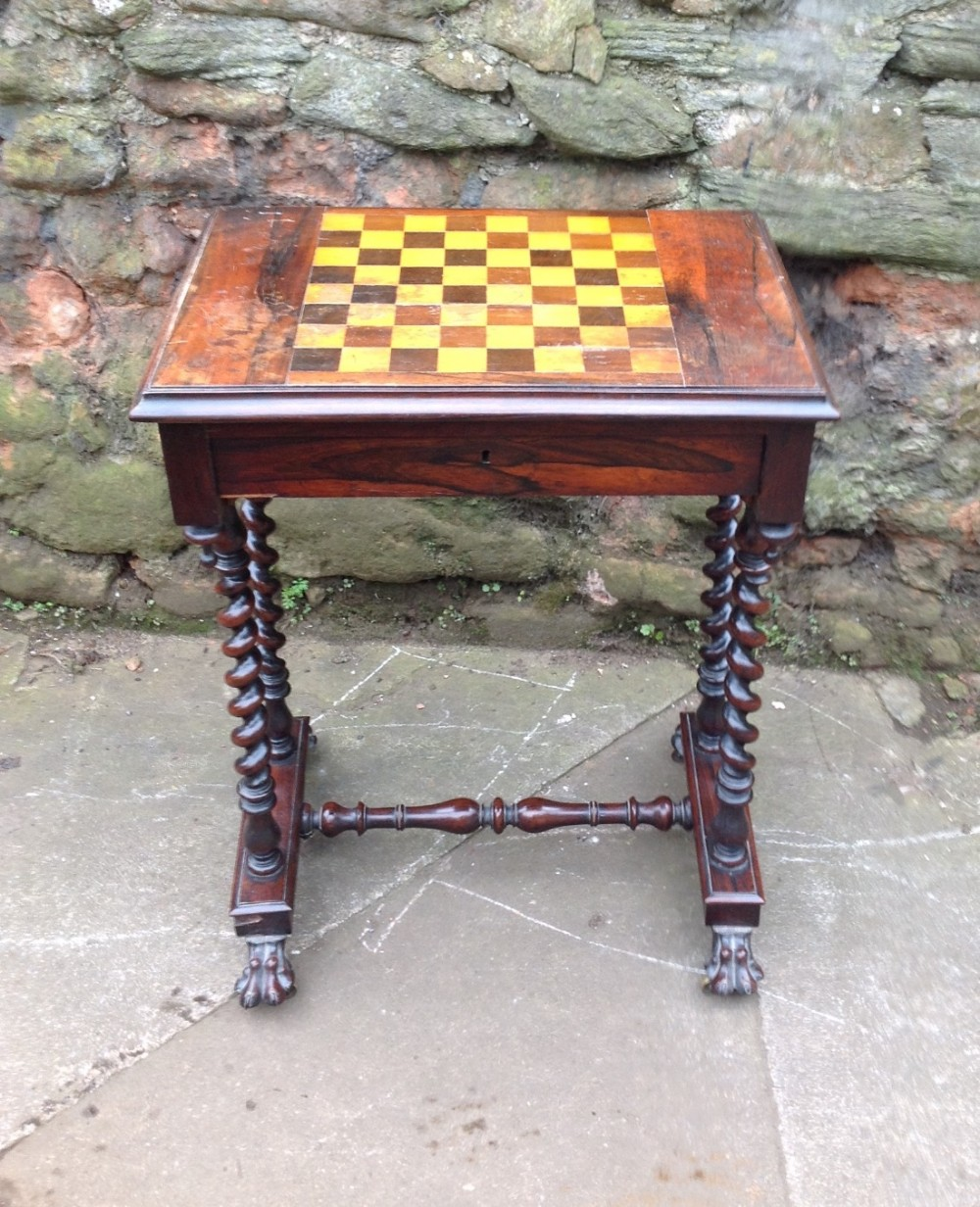 c19th rosewood games table