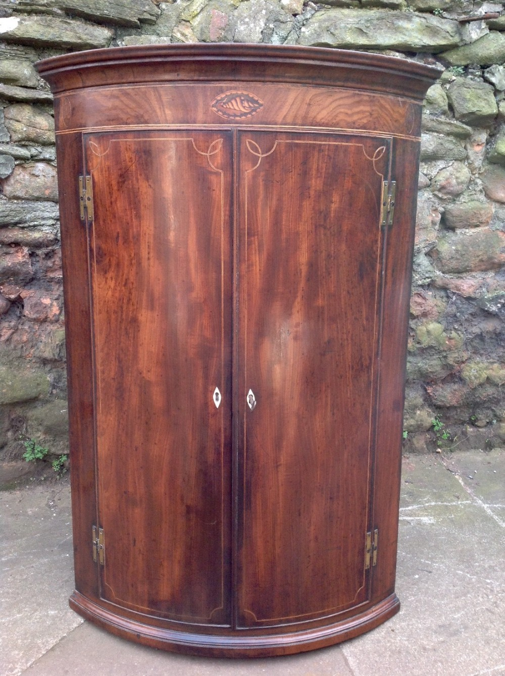 c18th barrell fronted corner cupboard