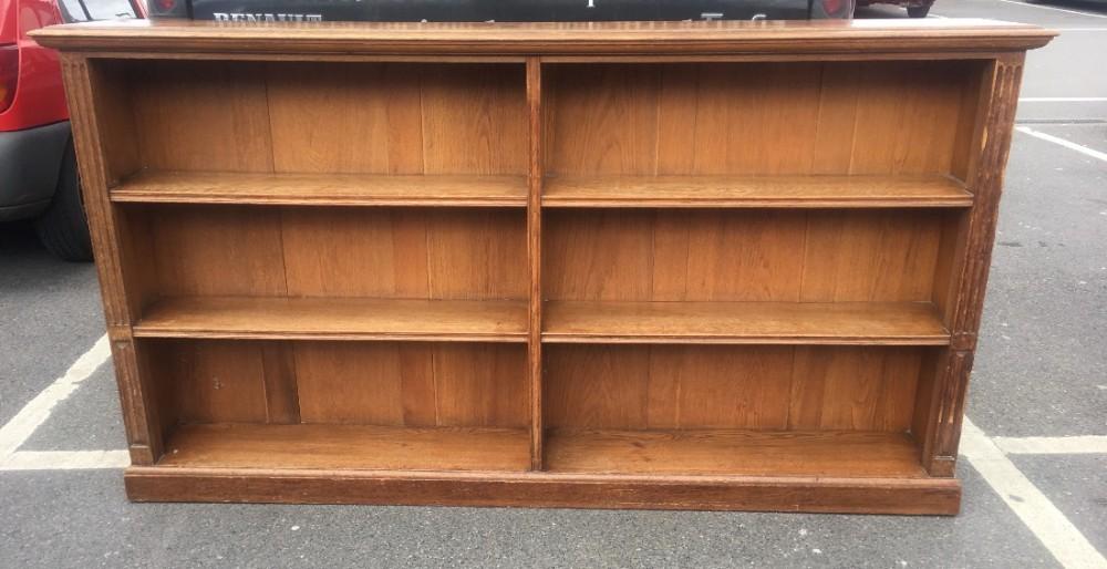 c19th oak double bookcase