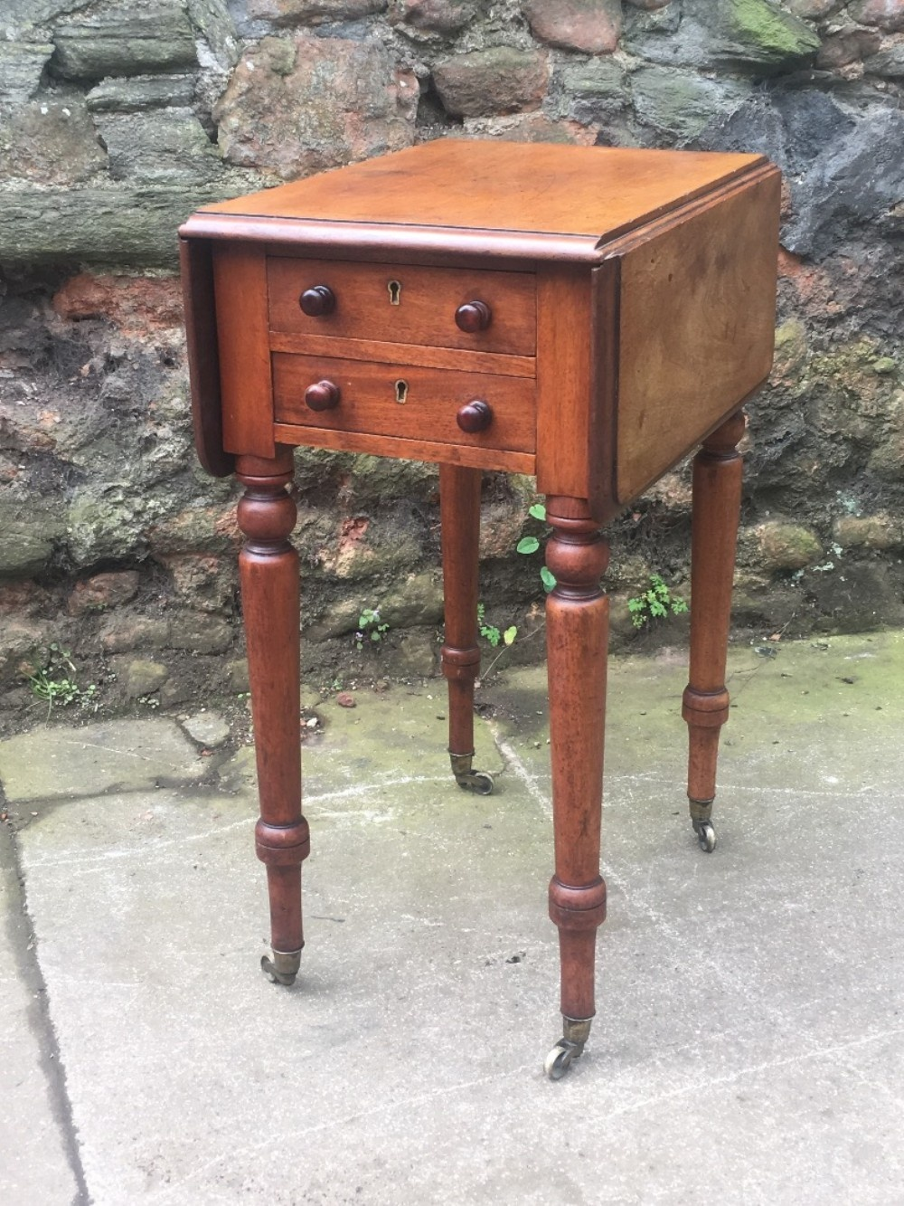 c19th small mahogany two drawer side table