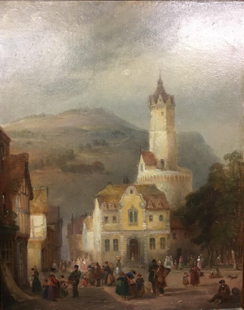 oil on board continental town scene