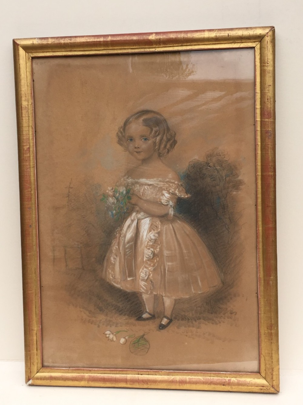 c19th pastel of a girl in original gilt frame