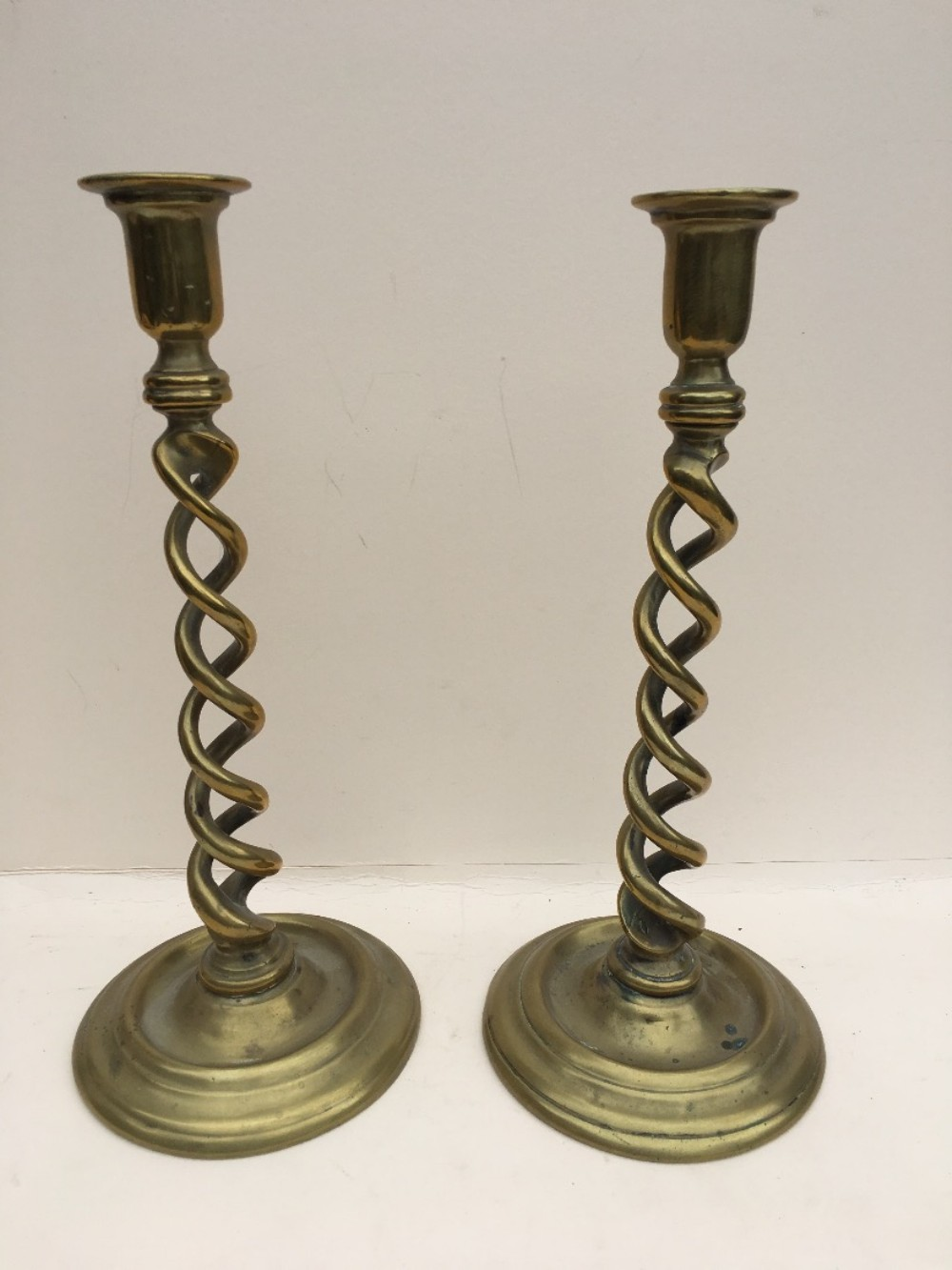 c19th tall brass double barleytwist column candlesticks