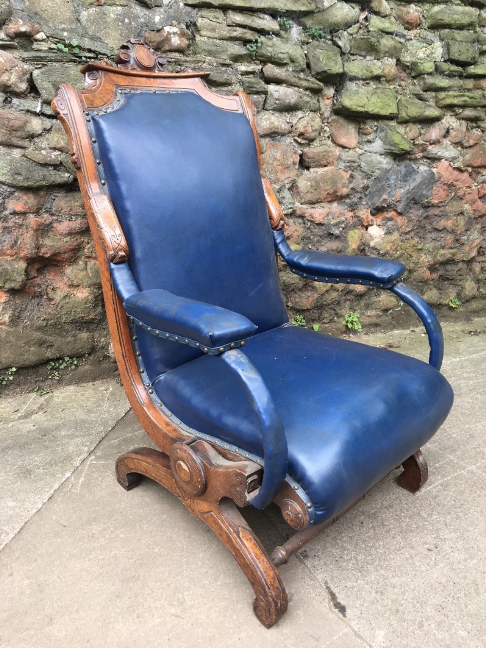 c19th patented rocking chair in walnut