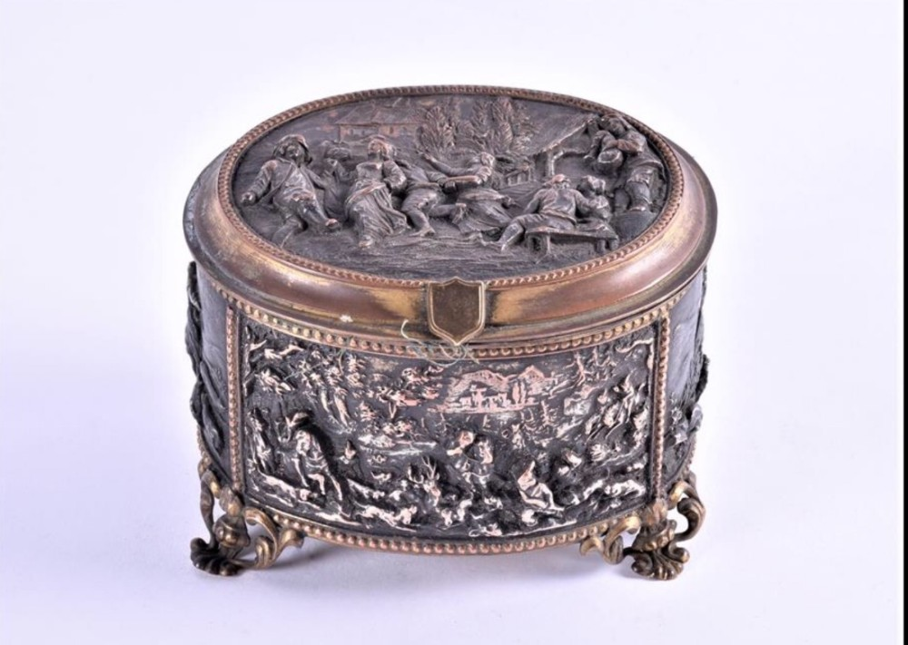 c19th cast metal trinket box