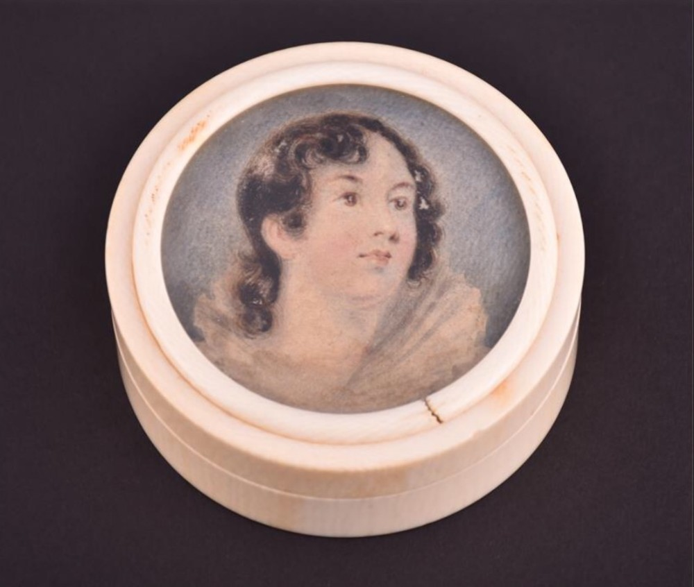 c19th portrait miniature of a young lady inset in an ivory round box