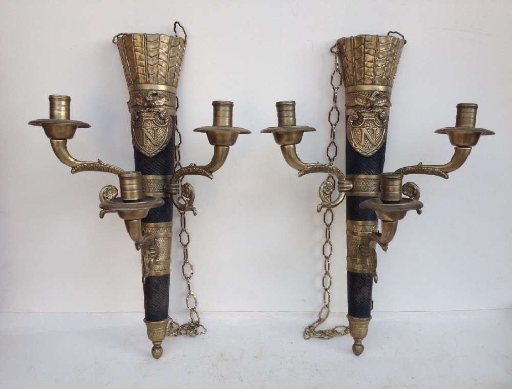 a pair of napoleonic empire style 1930s wall lights