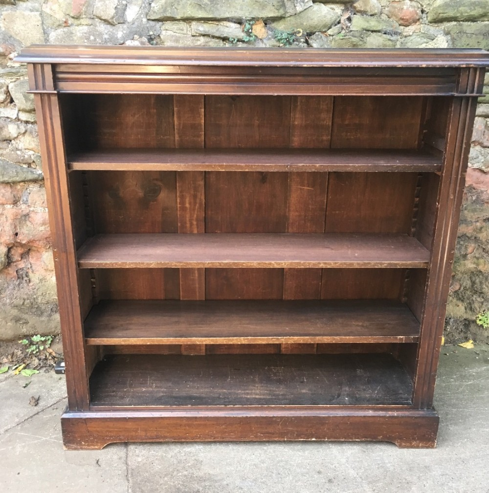 c19th stained pine open bookcase
