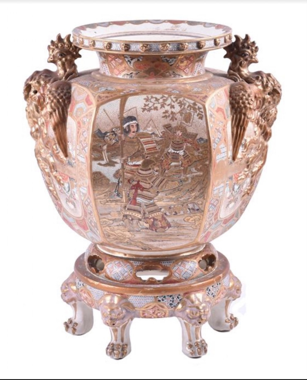 large japanese satsuma vase on stand
