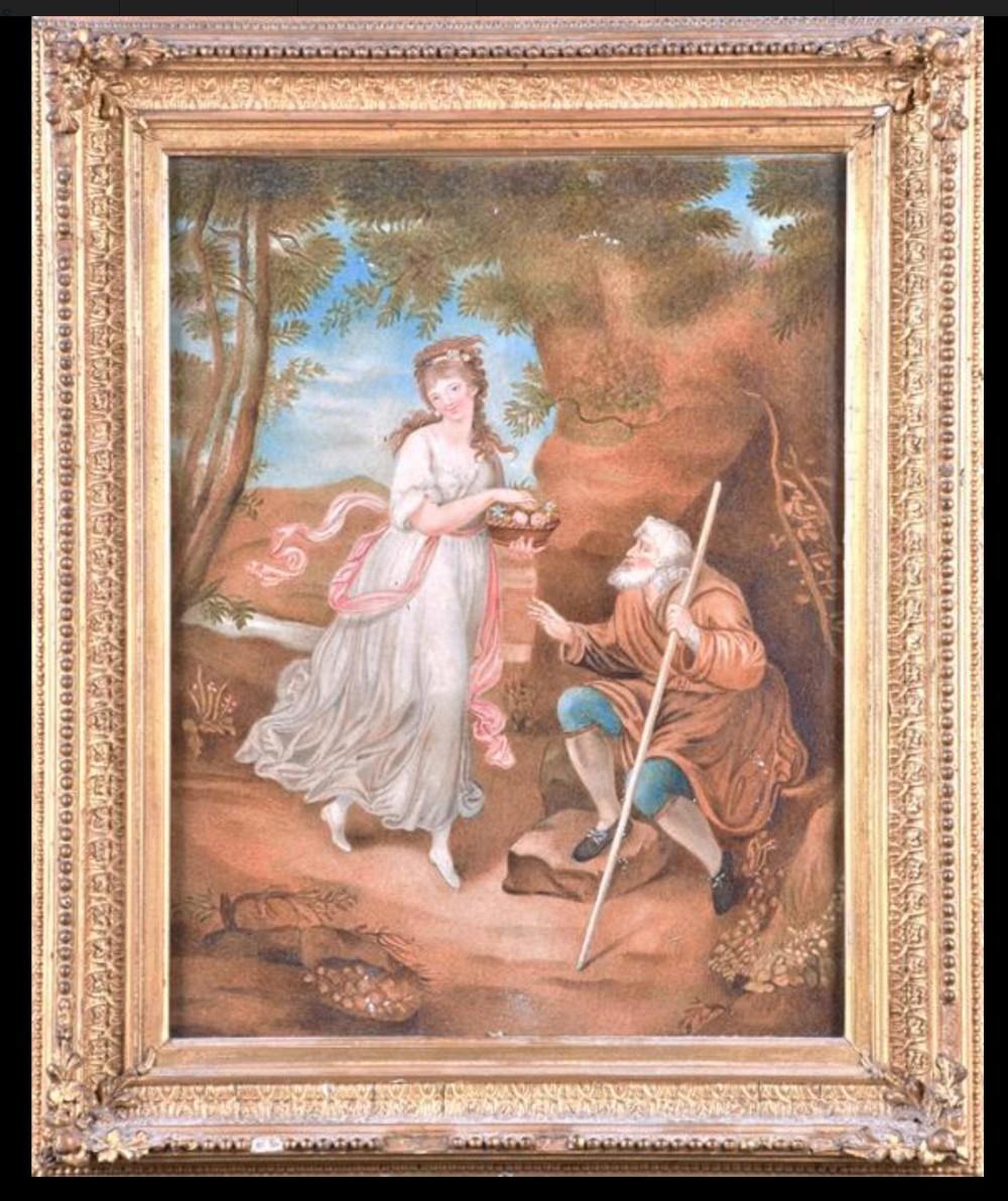c19th gouache study of a maiden and a beggar