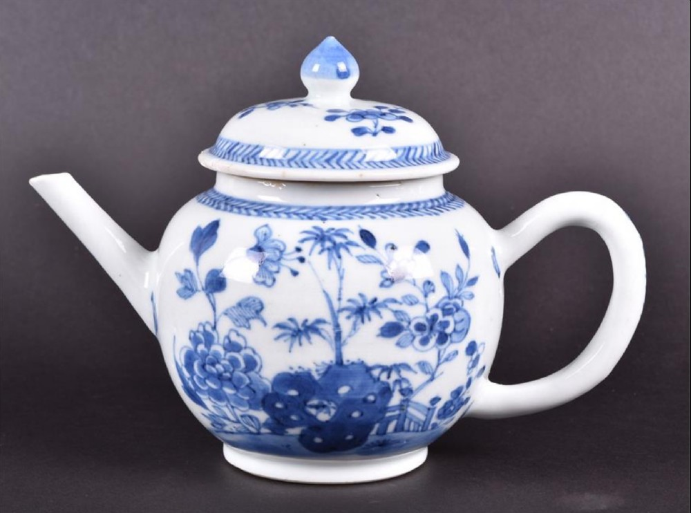13 a late 18th century chinese blue and white porcelain teapotdecorated with foliate motifs