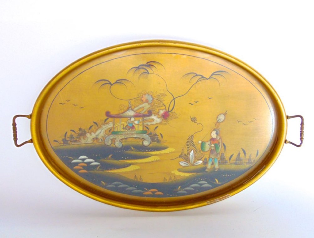 1920s chinoiserie oval tray