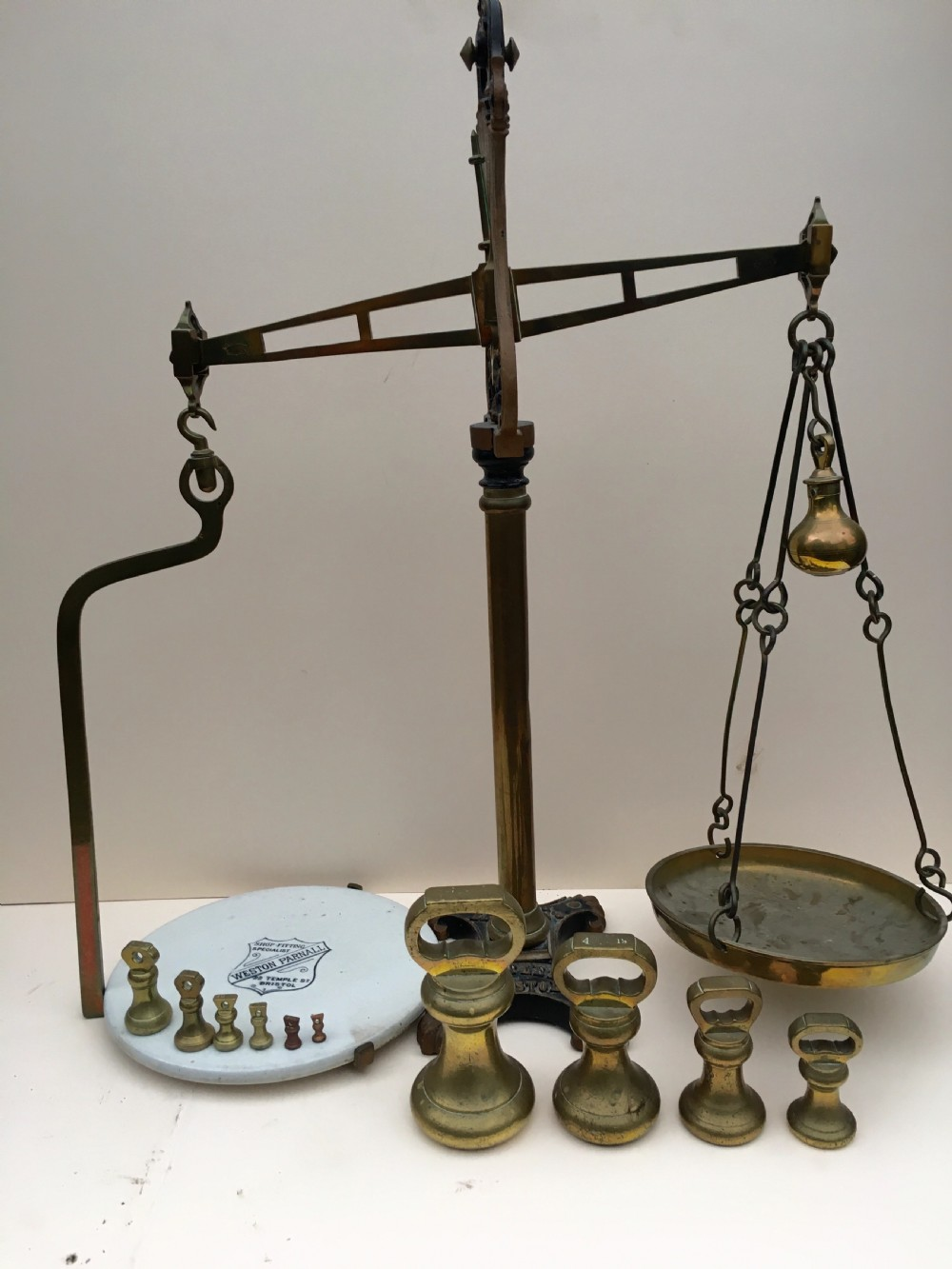 large pair of c19th bem weights by bartlett of bristol