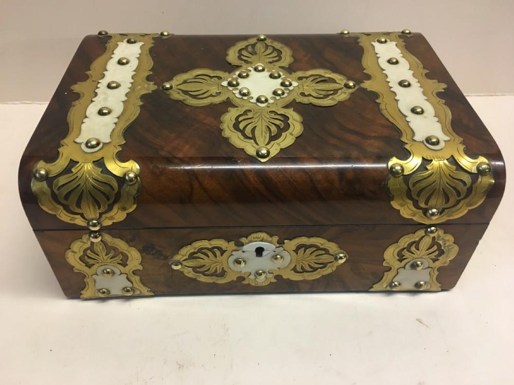 c19th walnut and brass jewellery box