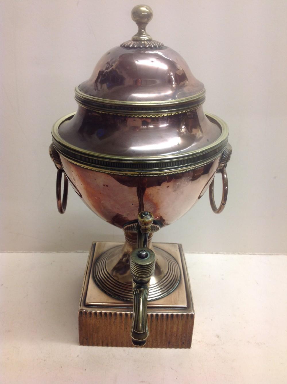 regency copper and brass adam period tea urn