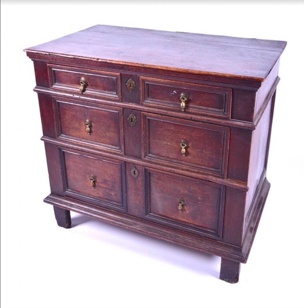 a late c17th oak chest of three drawers 97cms wide