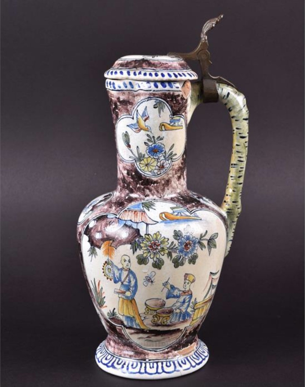c18th polychrome delft lidded jug