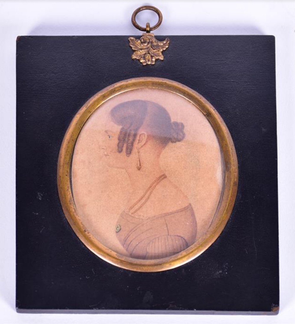 a 19th american portrait miniature depicting a young lady