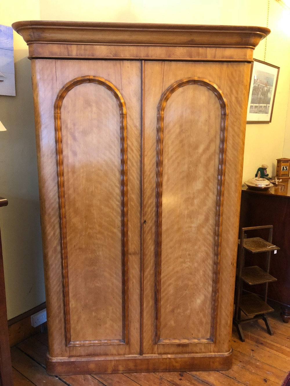 c19th double wardrobe in satin birch