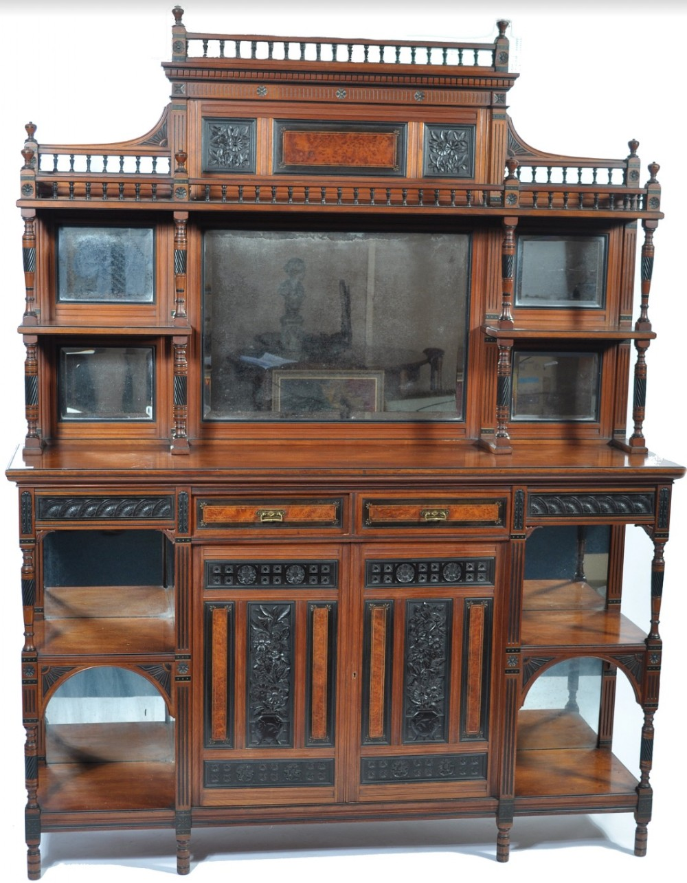 c19th aesthetic movement display cabinet in walnut ebony and thuya wood