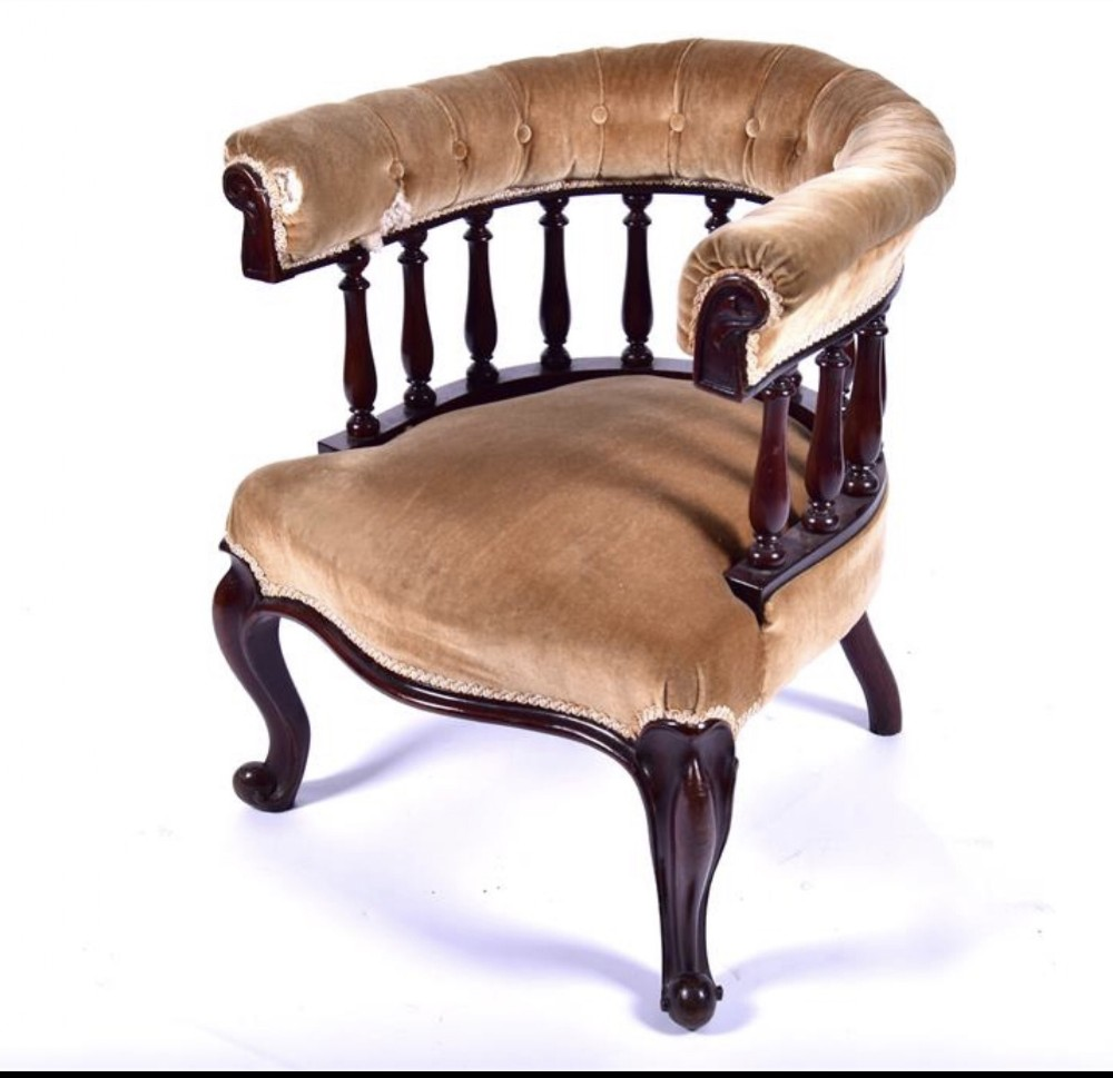c19th upholstered office club armchair