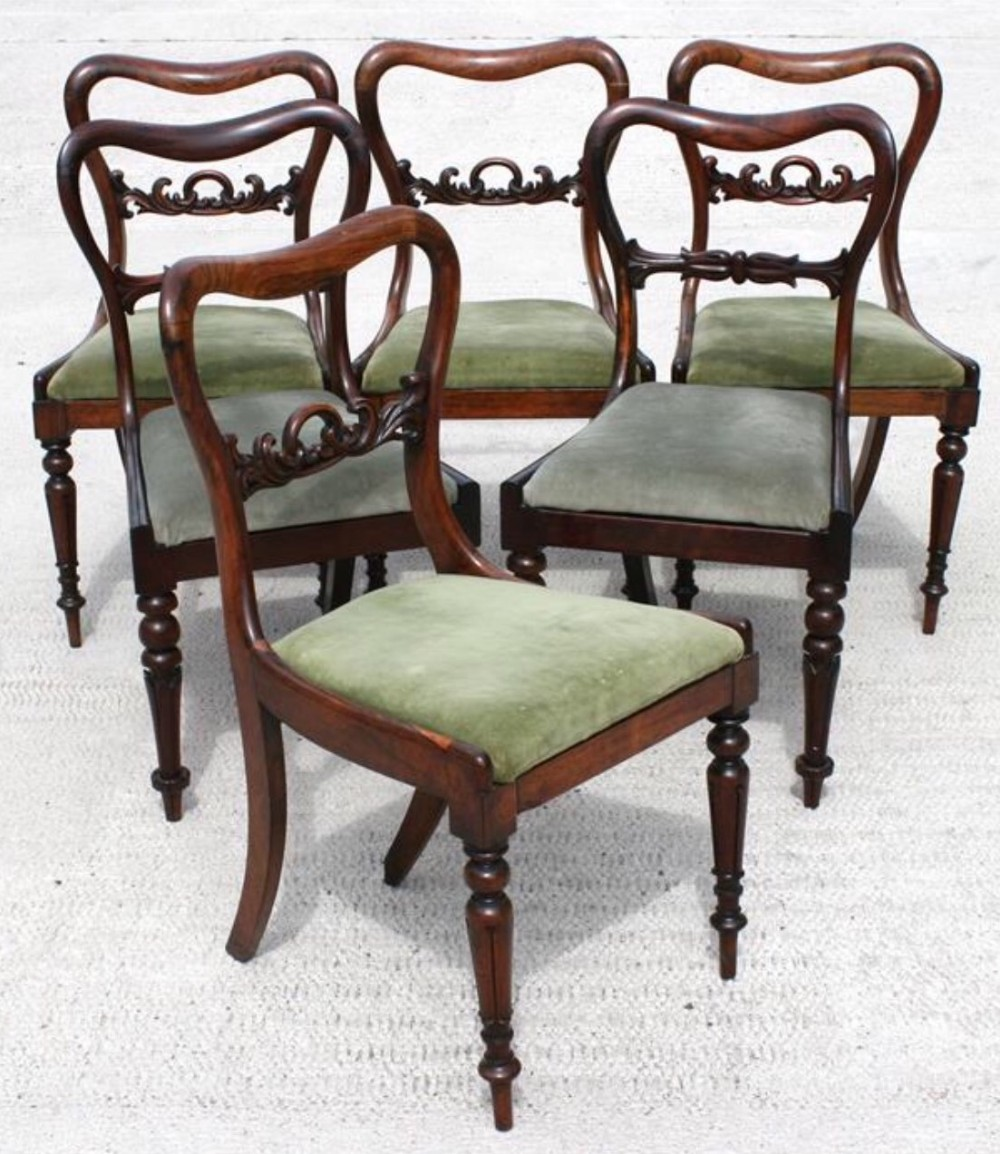 harlequin set of four plus two rosewood chairs