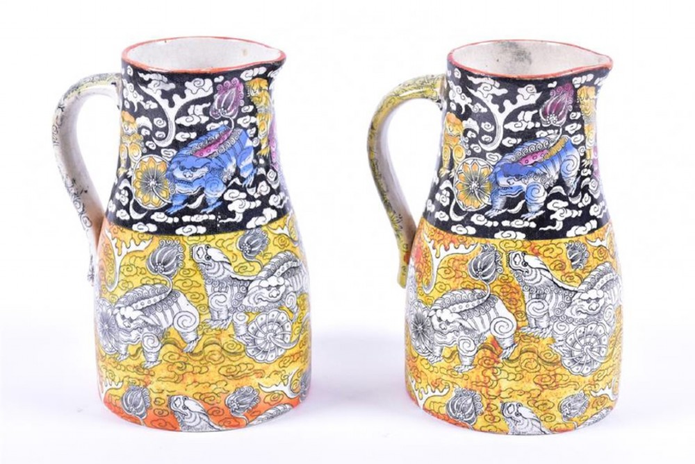a pair of masons ironstone jugs