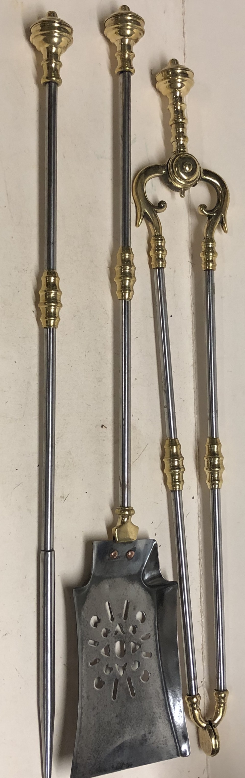 c19th set of steel and brass fire irons