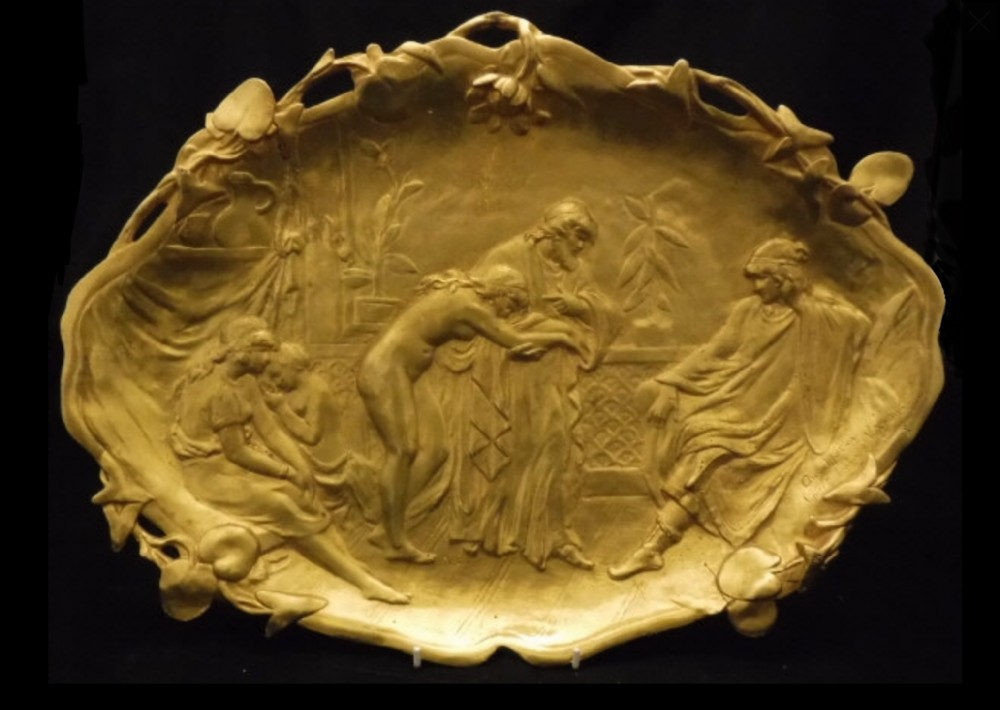 a gilt bronze tray signed a moreau