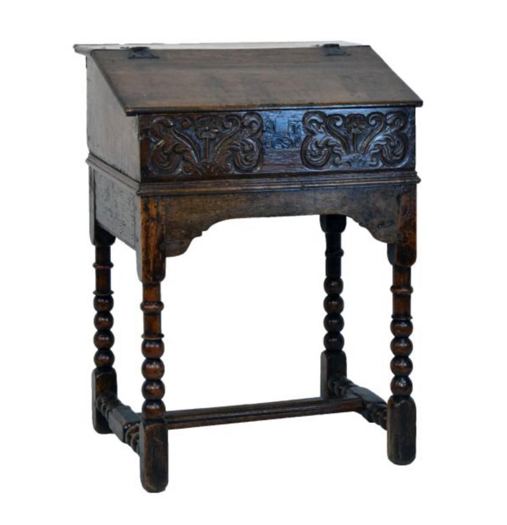 c17 th oak bible box on stand english