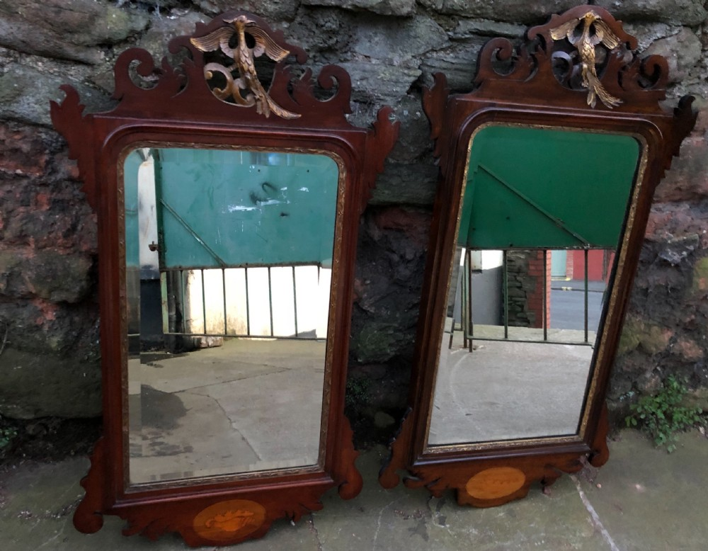 pair of parcel gilt fretwork pier mirrors with ho ho birds and inlaid shells