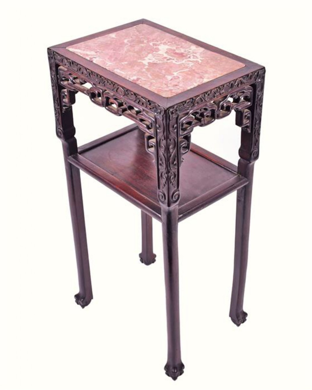 c19th chinese carved hardwood china display stand