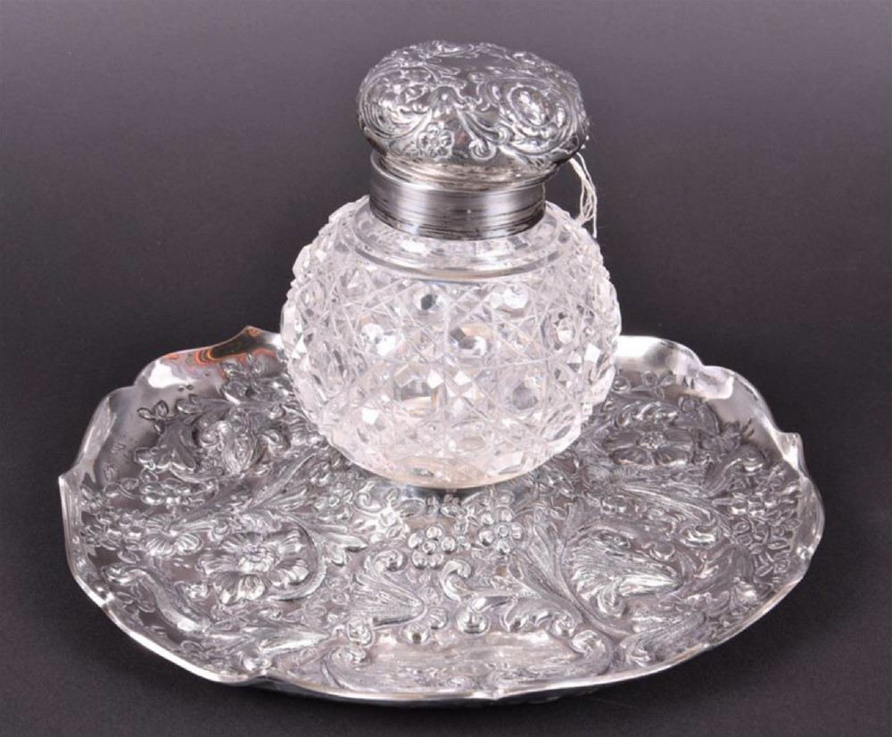 a c19th hm silver and cut glass inkwell and dish