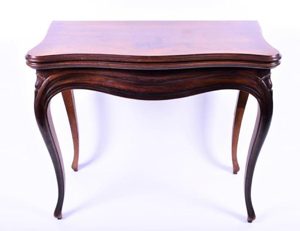 c19th french kingwood veneered card table
