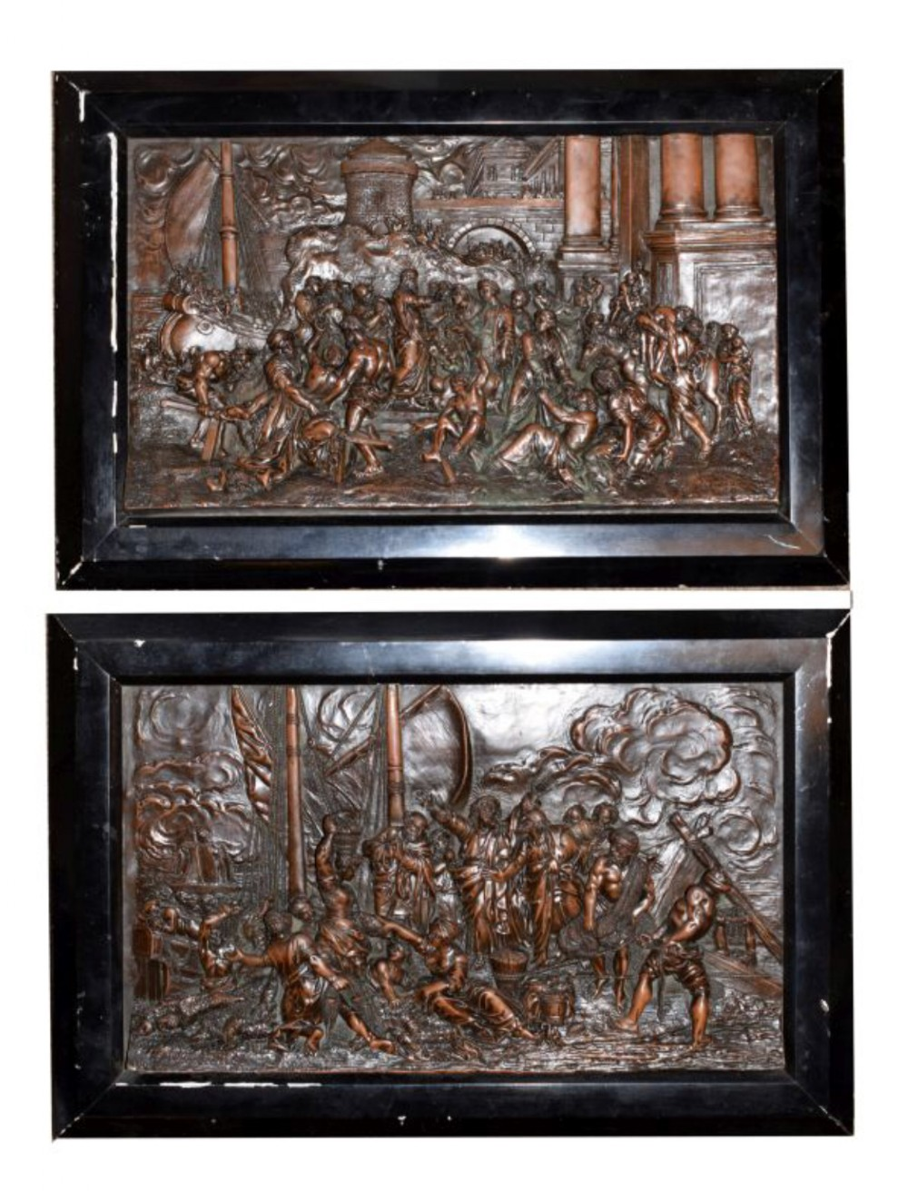 pair of c19th copper reliefs depicting religious scenes