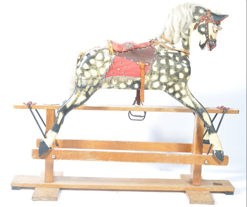 large unrestored rocking horse by collinsons of liverpool