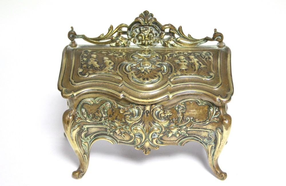 a late c19th brass inkwell in the form of a louis xv bureau