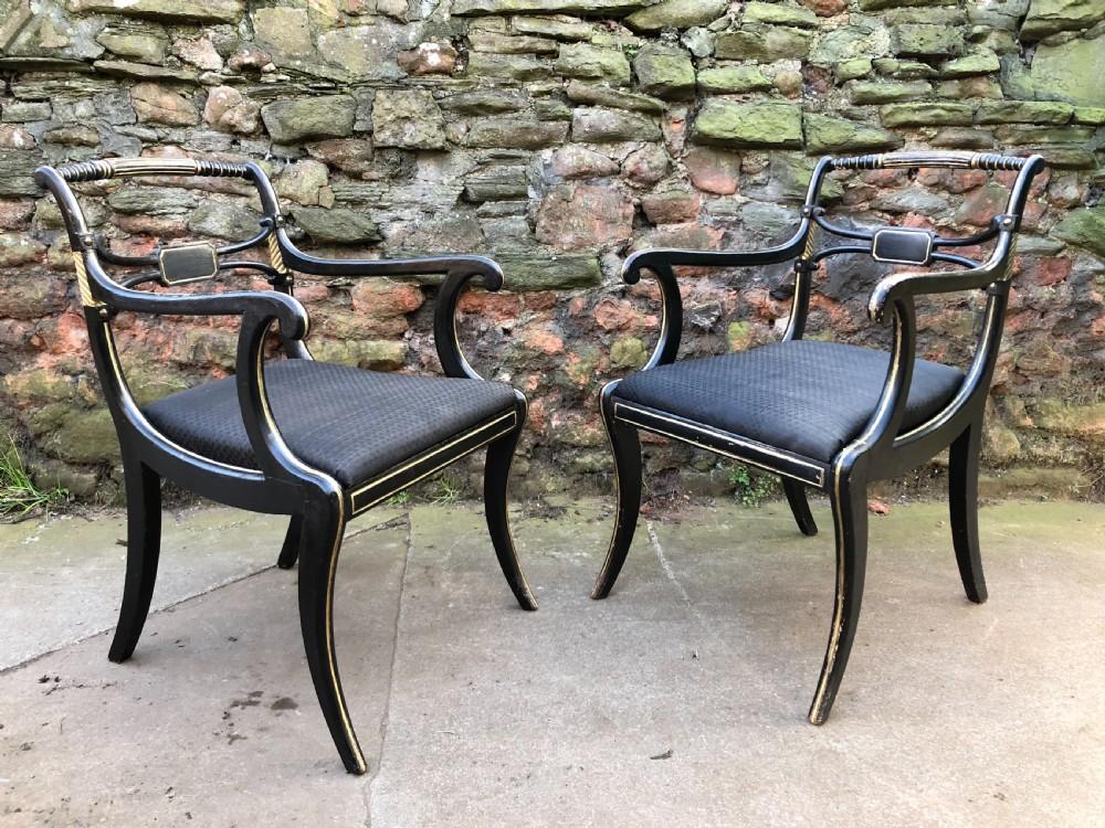 fine pair of regency armchairs