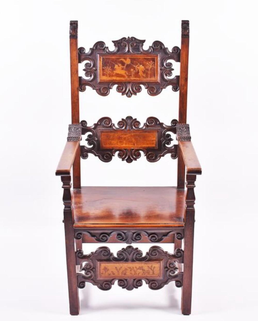 c17th inlaid italian armchair