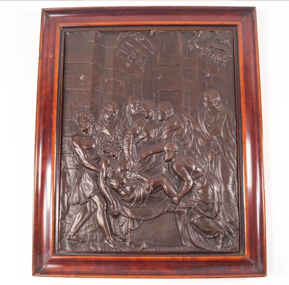 antique bronze plaque of the deposition of christ