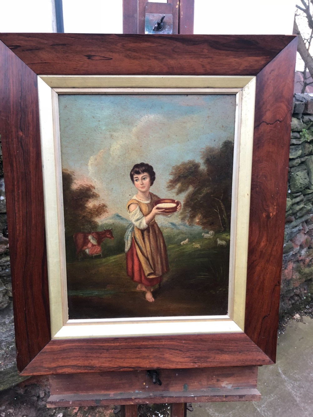 c19th copy of gainsboroughs lavinia the milkmaid oil painting on board