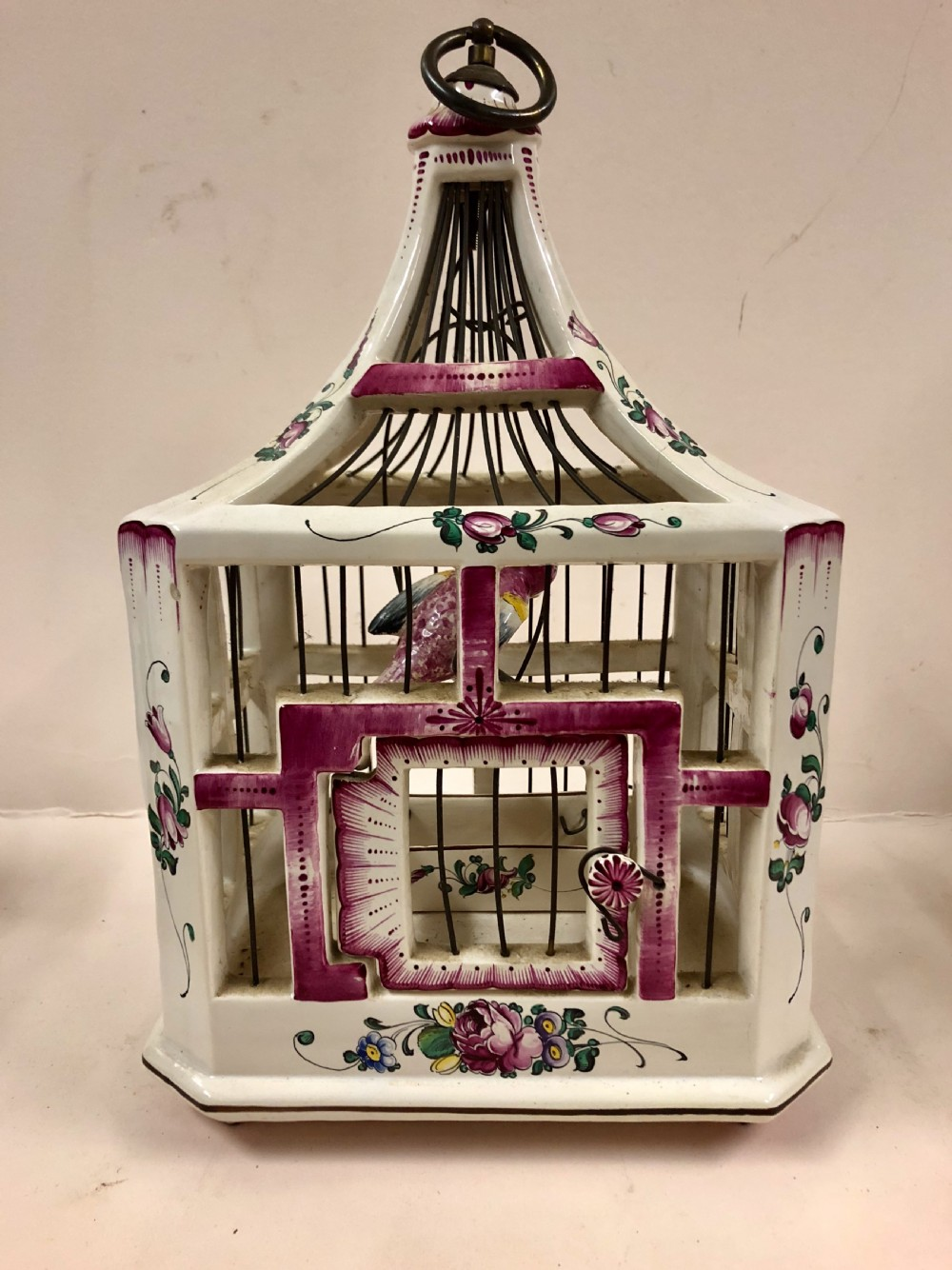 c19th faience birdcage