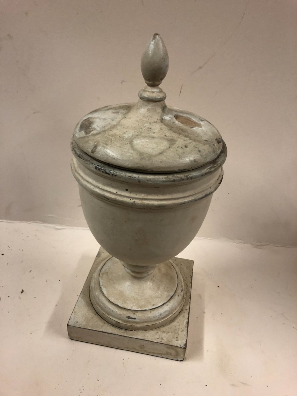 edwardian turned wooden urn and cover