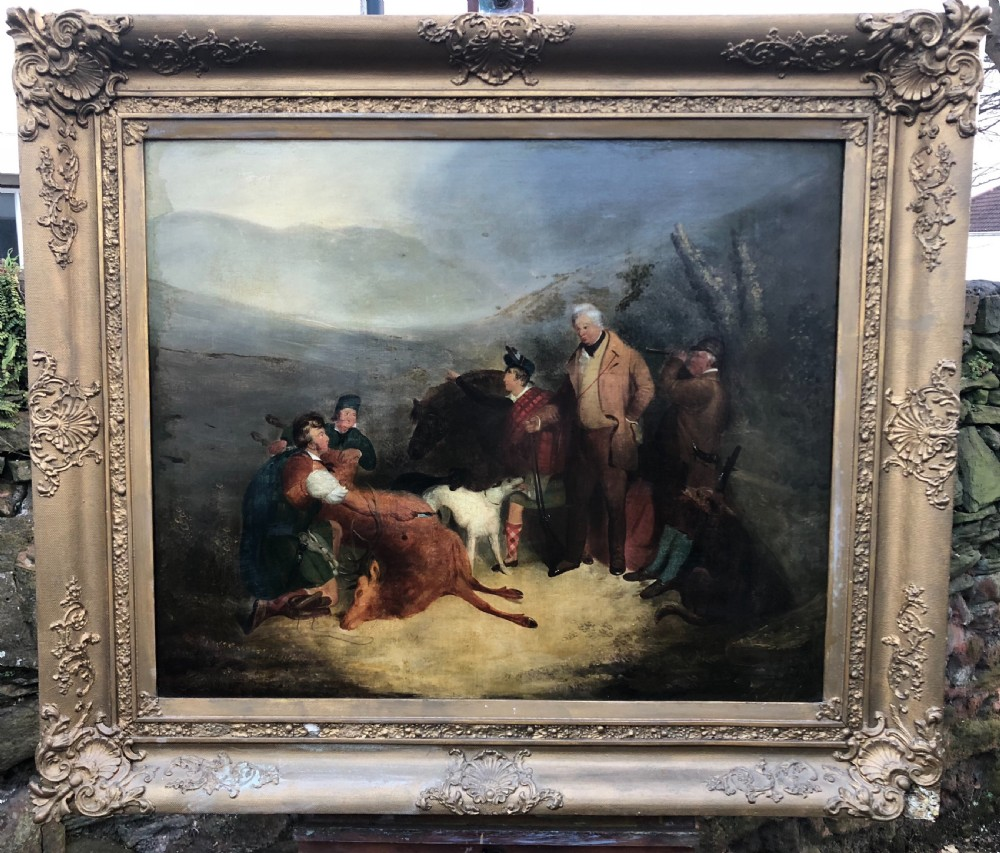 c19th oil painting on canvas of scottish highland scene