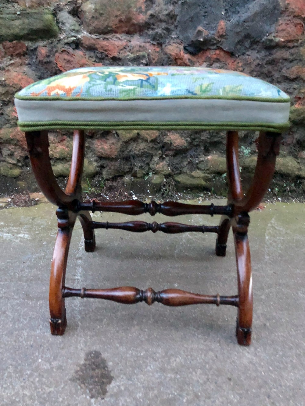 c19th small rosewood x framed stool with tapestry cover