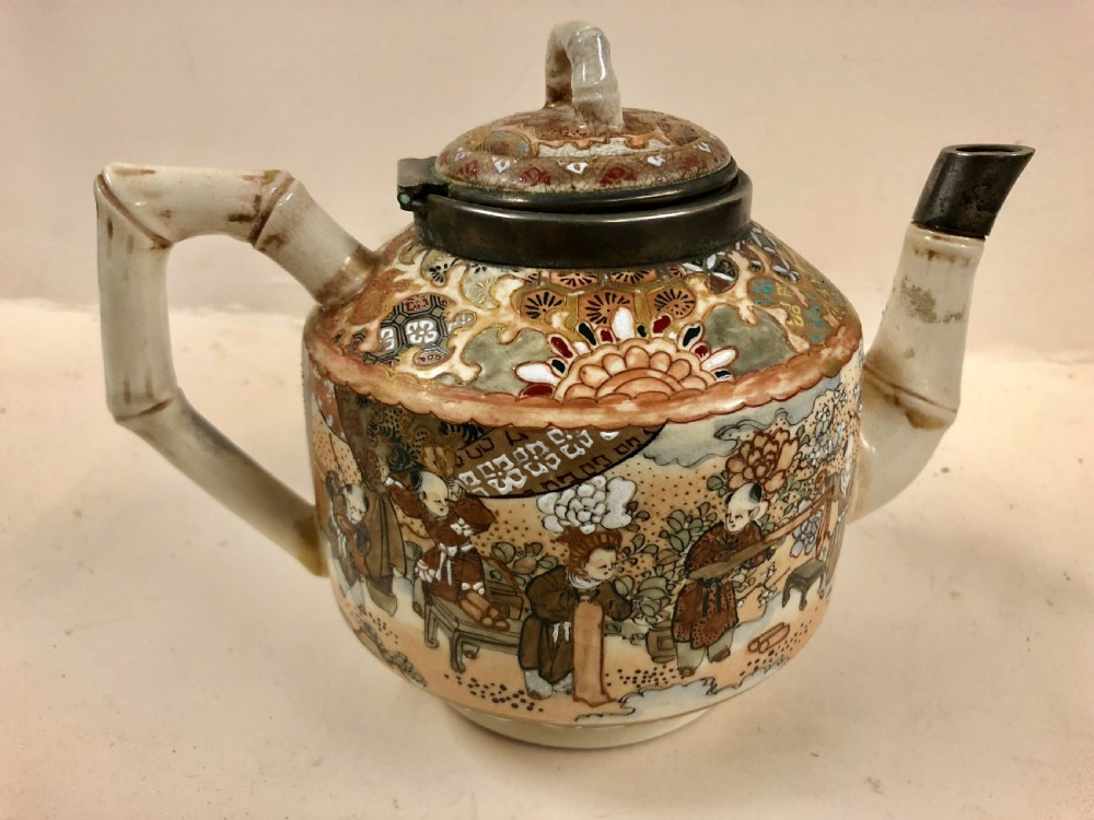 japanese satsuma teapot with english silver hm hinge and spout c1888